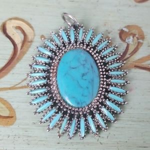 Jewelry - Turquoise Silver Boho  Necklace Pendent Charm